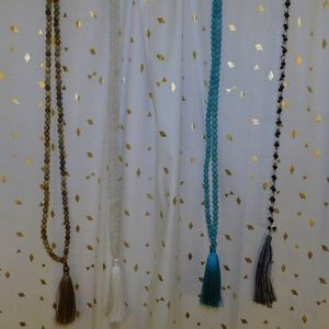 4 DIFFERENT TASSLE NECKLACES